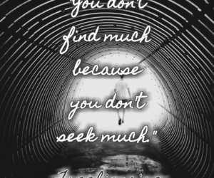 You don't find much because you don't seek much.